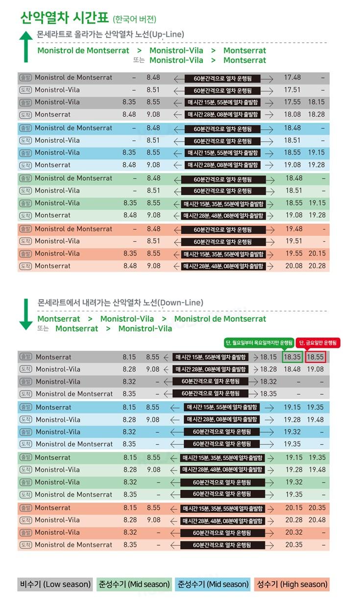 몬세라트 산악열차 운행시간표